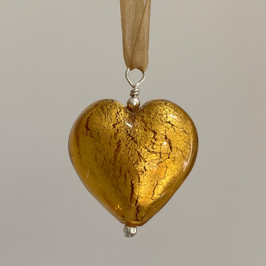 Necklace with gold topaz (amber, brown) Murano glass large heart pendant on organza ribbon