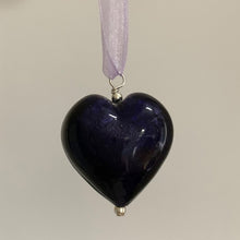 Necklace with purple velvet Murano glass large heart pendant on organza ribbon