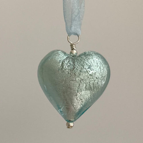 Necklace with aquamarine (blue) Murano glass large heart pendant on organza ribbon