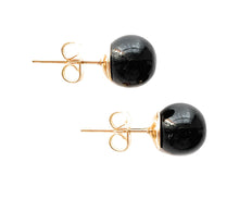 Earrings with black pastel Murano glass sphere (round) studs on plain or gold posts
