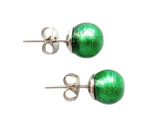 Earrings with dark green (emerald) Murano glass sphere (round) studs on surgical steel posts