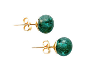 Earrings with teal (green) opal and aventurine Murano glass sphere studs on gold posts
