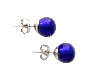 Earrings with dark blue (cobalt) Murano glass sphere (round) studs on surgical steel posts