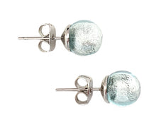 Earrings with aquamarine (blue) Murano glass sphere (round) studs on surgical steel posts