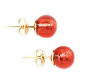 Earrings with light red Murano glass sphere (round) studs on gold posts