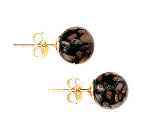 Earrings with black pastel & aventurine Murano glass sphere studs on plain or gold posts