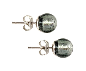 Earrings with dark grey and white gold Murano glass sphere studs on surgical steel posts