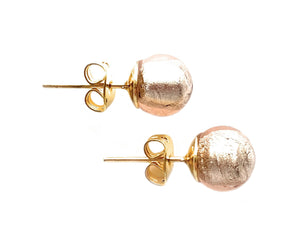 Earrings with champagne (peach, pink) Murano glass sphere (round) studs on gold posts