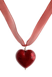 Necklace with red Murano glass large heart pendant on organza ribbon
