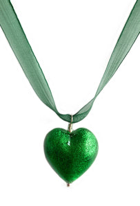 Necklace with dark green (emerald) Murano glass large heart pendant on organza ribbon