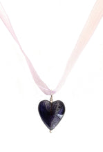Necklace with purple velvet Murano glass medium heart pendant on organza ribbon