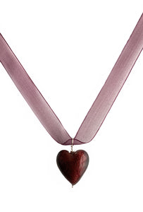 Necklace with dark amethyst (purple) Murano glass medium heart pendant on ribbon