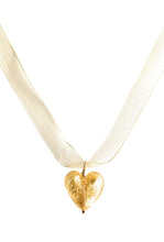 Necklace with light (pale) gold Murano glass medium heart pendant on organza ribbon