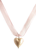 Necklace with champagne (pink) Murano glass medium heart pendant on ribbon