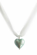 Necklace with aquamarine (blue) Murano glass medium heart pendant on organza ribbon