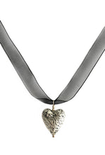 Necklace with black pastel, silver crackle Murano glass medium heart pendant on ribbon
