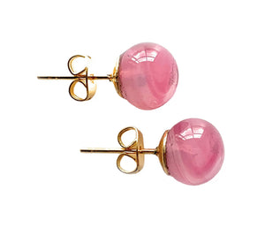 Earrings with pink alabaster Murano glass sphere studs on surgical steel posts