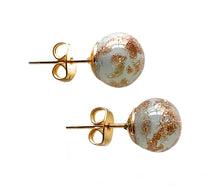 Earrings with grey opal and aventurine Murano glass sphere (round) studs on gold posts