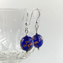 Earrings with dark blue (cobalt) and aventurine Murano glass mini lentil drops on silver or gold