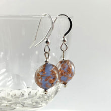 Earrings with wedgewood blue and aventurine Murano glass mini lentil drops on silver or gold