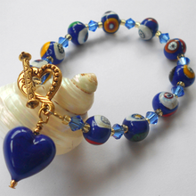 Bracelet with dark blue Murano glass mosaic beads, Swarovski© crystals and heart charm