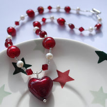 Necklace w/ red (it. rosso) Murano glass beads, Swarovski© crystals, pearls, heart pendant