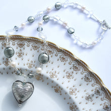 Grey (it. Grigio) & Clear Crystal (it. Crystallo) Mixed Bead Necklace With Pendant On Silver