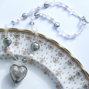 Necklace with grey, clear crystal Murano glass beads, Swarovski© crystals, pearls, heart