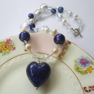 Necklace with purple velvet, lilac Murano glass beads, Swarovski© crystals, pearls, heart