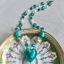 Necklace with teal (green, jade) Murano glass beads, Swarovski© crystals, pearls, heart