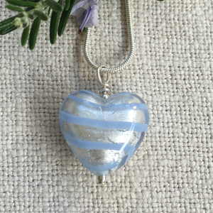 Necklace with aquamarine (blue) spiral Murano glass medium heart pendant on silver chain