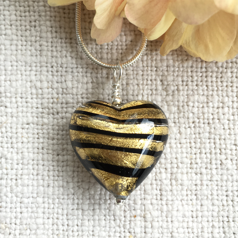 Black Spiral With Gold Foil Medium Heart Pendant On Silver Chain Necklace