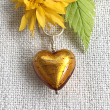 Necklace with gold topaz (amber) Murano glass medium heart pendant on silver chain