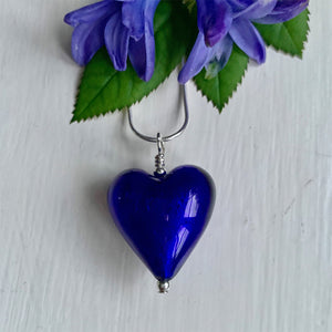 Necklace with dark blue (cobalt) Murano glass medium heart pendant on silver chain