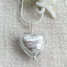 Necklace with clear crystal and silver Murano glass medium heart pendant on silver chain