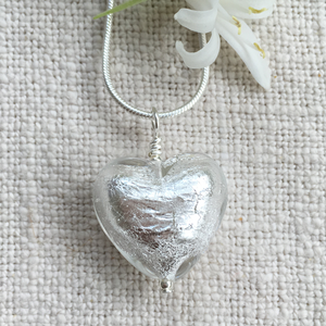 Necklace with clear crystal & silver Murano glass medium heart pendant on Sterling Silver chain