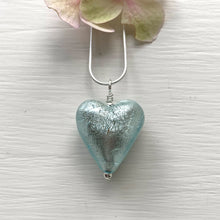 Necklace with aqua and white gold Murano glass medium heart pendant on silver chain