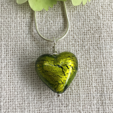 Necklace with olive green Murano glass medium heart pendant on silver chain