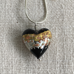 Necklace with black gold silver aventurine Murano glass medium heart pendant on chain