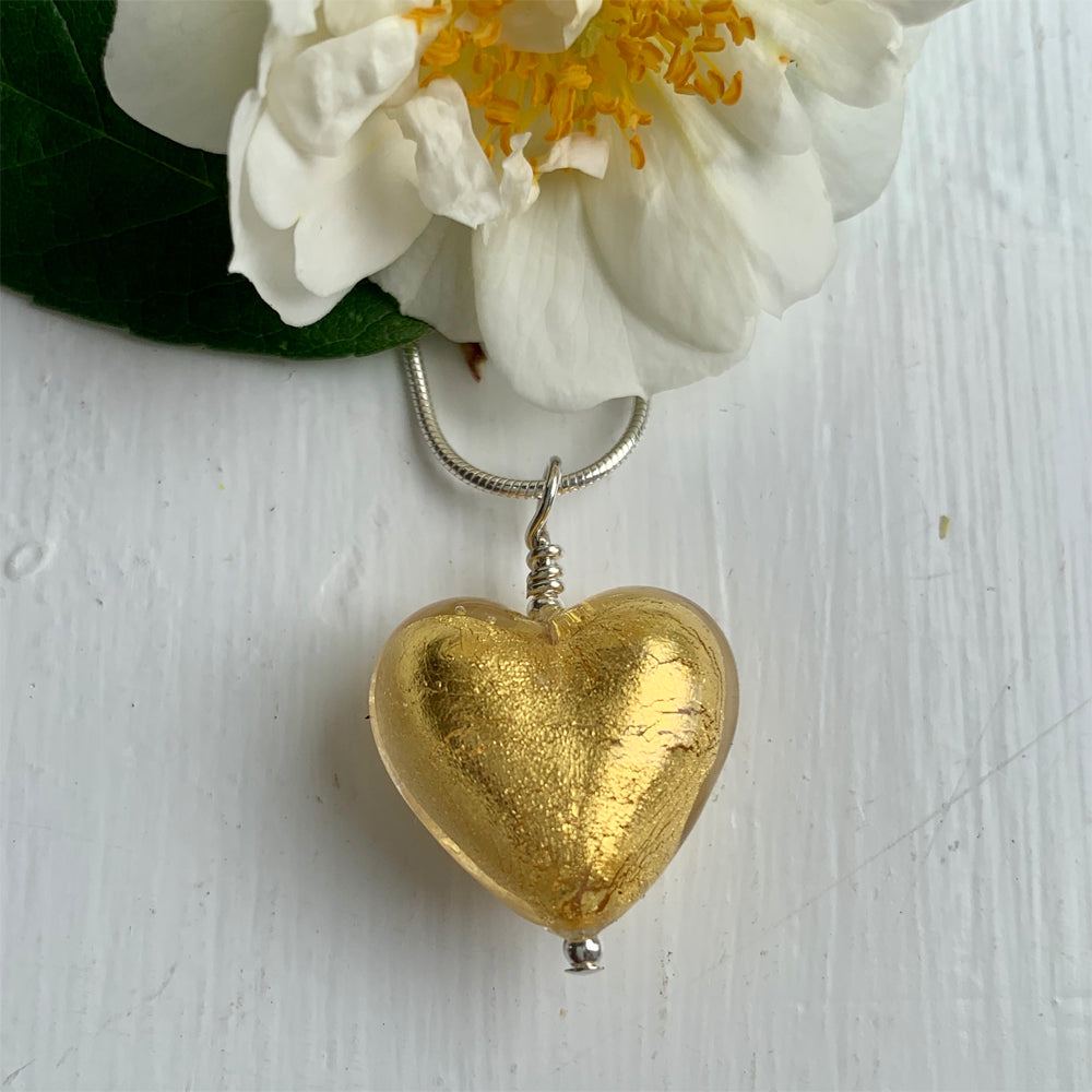 Necklace with light (pale) gold Murano glass medium heart pendant on silver chain