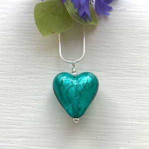 Teal (Green, Jade) Medium Heart Pendant Silver Chain Necklace