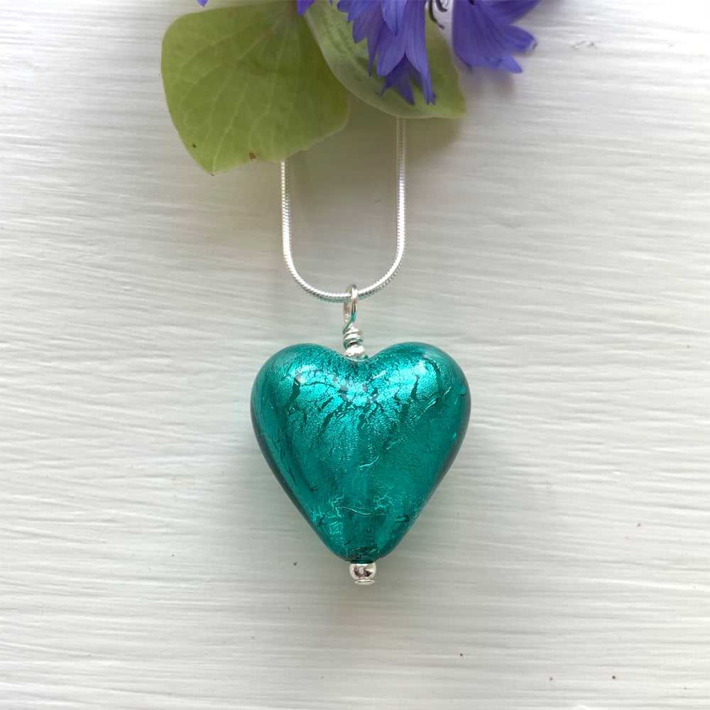 Necklace with teal (green, jade) Murano glass medium heart pendant on silver chain