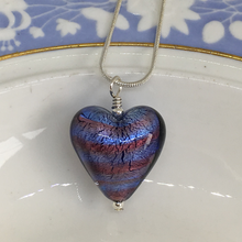 Necklace with amethyst spiral & purple Murano glass medium heart pendant on silver chain