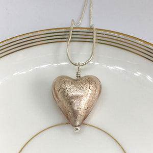Necklace with champagne (peach, pink) Murano glass medium heart pendant on silver chain