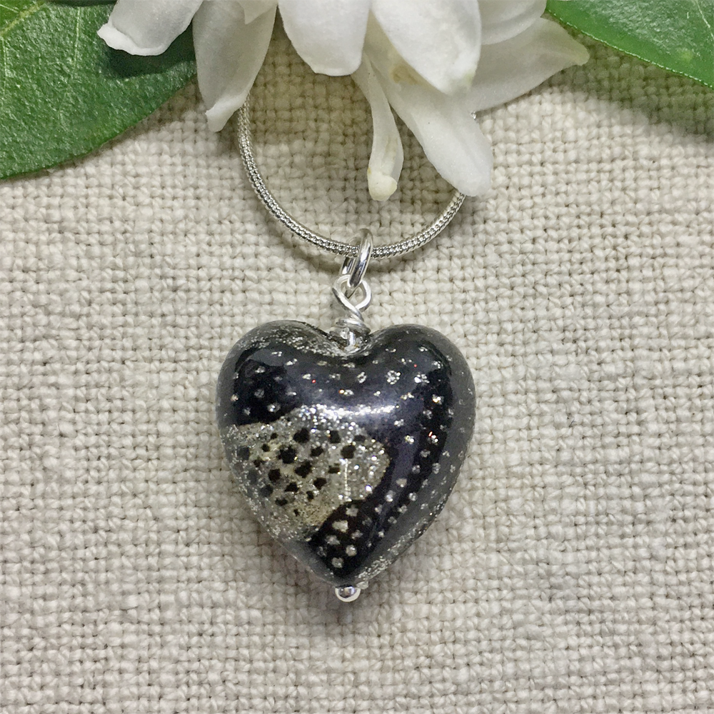 Necklace with black & silver glitter Murano glass medium heart pendant on Sterling Silver chain