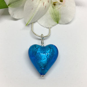 Turquoise (Blue) With White Gold Foil Medium Heart Pendant On Silver Chain Necklace