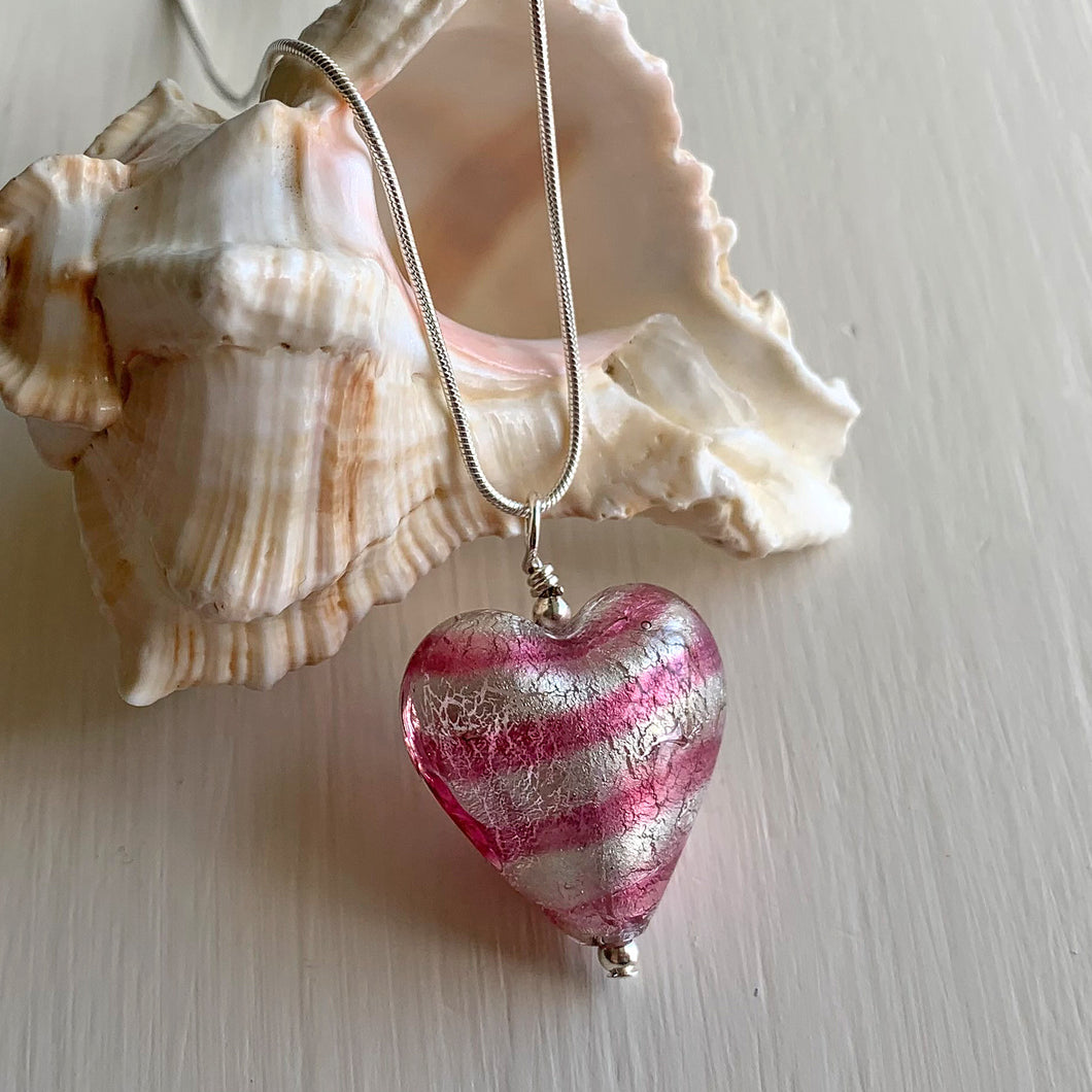 Necklace with candy stripe pink Murano glass medium heart pendant on silver chain