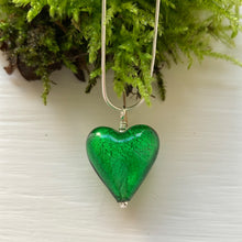 Necklace with dark green (emerald) Murano glass medium heart pendant on silver chain