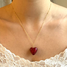 Necklace with red Murano glass medium heart pendant on gold chain