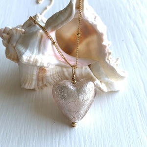 Necklace with champagne (peach) Murano glass medium heart pendant on gold chain